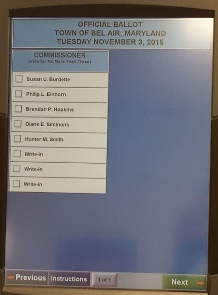 2015 Election Ballot Screen Image