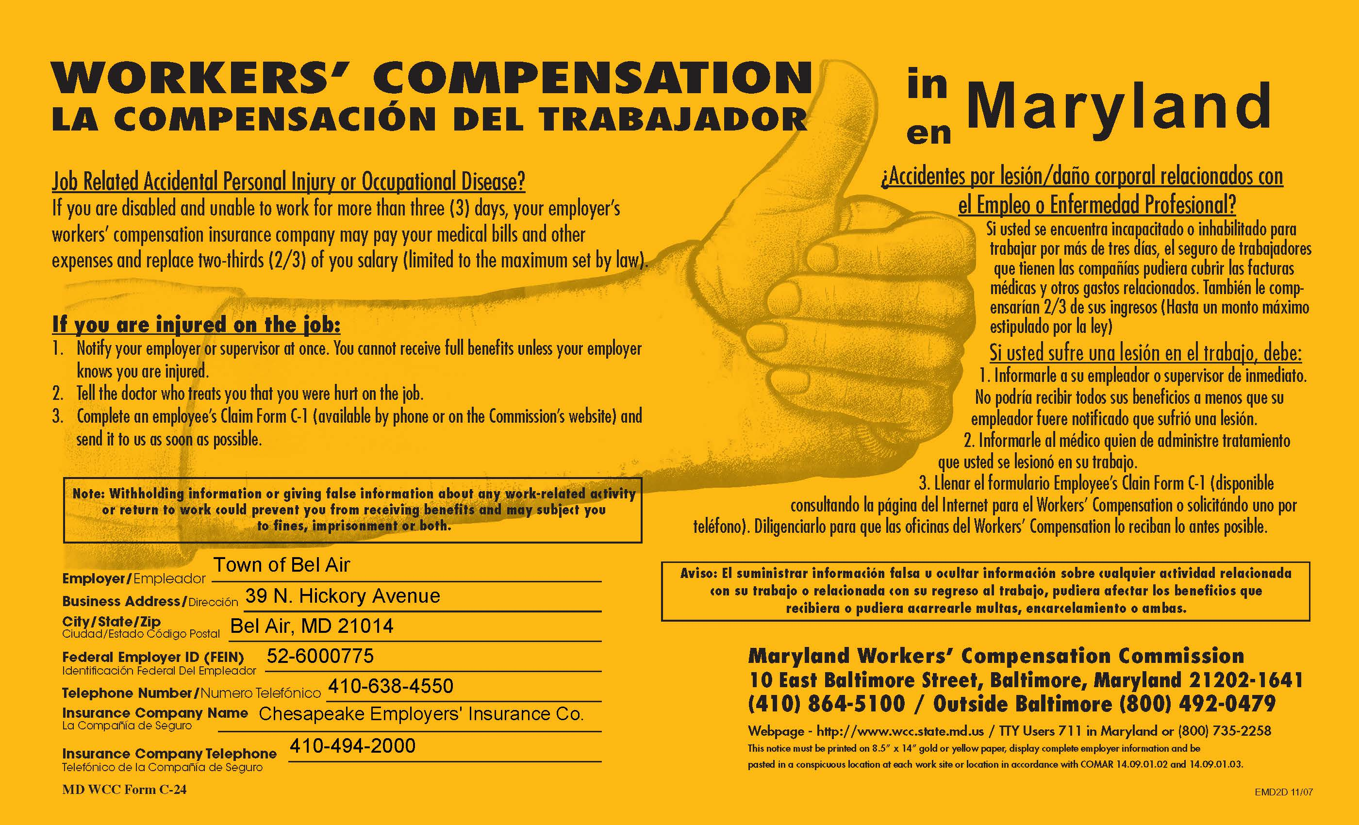 Workers' Compensation in Maryland Poster