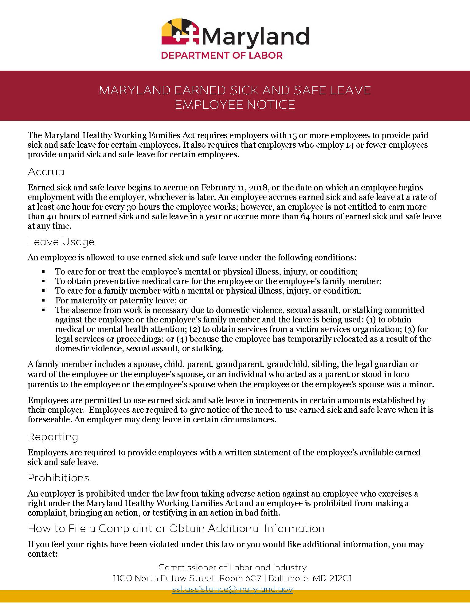 Maryland Earned Sick and Safe Leave Notice