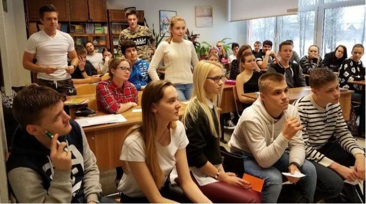 High school students in Narva, Estonia, listen to Harford Community College students about the impor